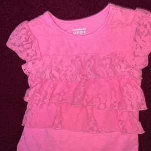 4T/ short sleeve pink laced top   - $12